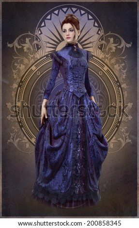 3D computer graphics of a young woman with a purple dress from the 19th century - stock photo
