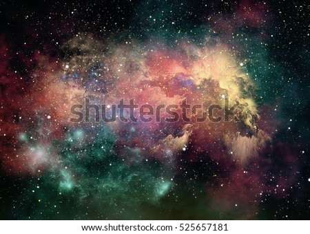 3d computer graphics of nebulae and starry sky in outer space