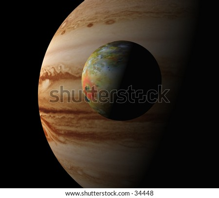 3D computer illustration of Jupiter and its volcanic moon Io.