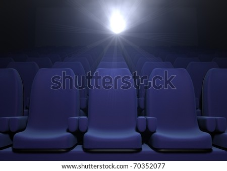 3d computer image of blue  cinema seats - stock photo