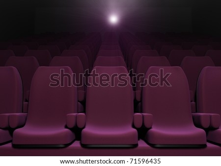 3d computer image of red cinema seats