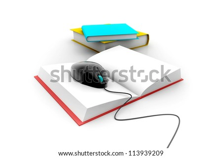 3d Computer mouse and books - e-learning concept - stock photo