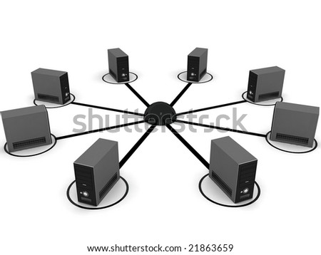 3D computer networking with white background - stock photo