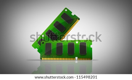 3D Computer RAM Memory Cards. High resolution - stock photo