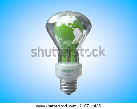 3D computer rendered illustration earth three light bulb with blue background