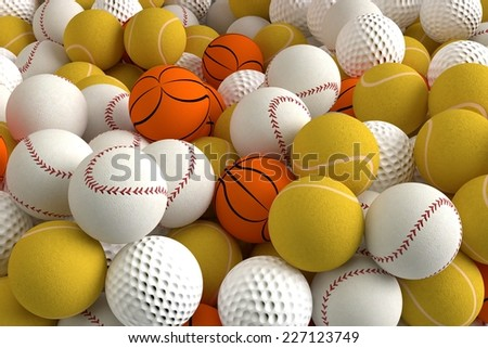3D computer rendered illustration the Different Sports Balls