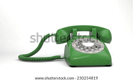 3D computer rendered illustration the green Phone isolated - stock photo