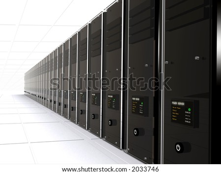 3d computer servers in a data center - good perspective - stock photo