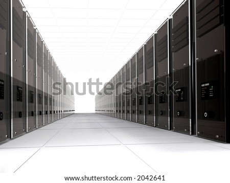 3d computer servers in perspective over a white background - stock photo