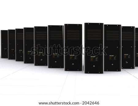3d computer servers over a white background - stock photo