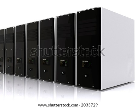 3d computer servers over a white background with a reflection on the floor - stock photo