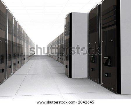 3d computer serves in perspective with one out over a white background