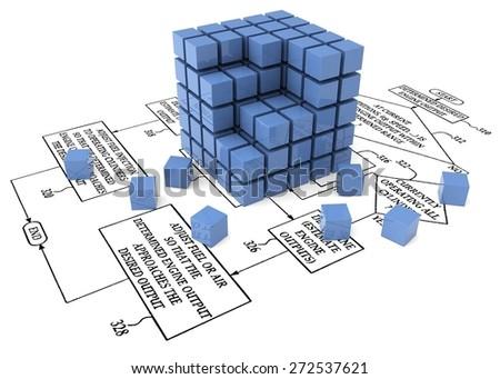 3D. Computer Software, Organization, Flow Chart. - stock photo