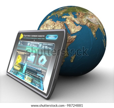 3D computer tablet and land on white background isolated
