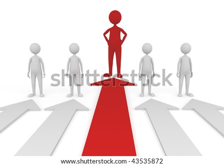 3D concept depicting successful and confident leader in a team - stock photo