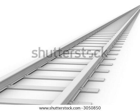 3D concept - Endless Train track - stock photo