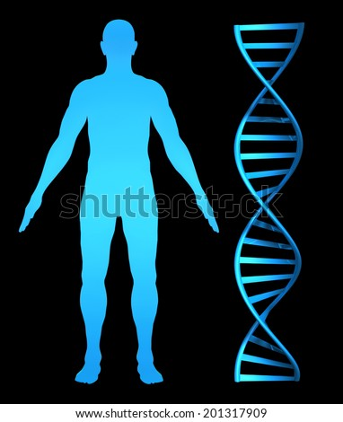 3D concept for genetic health research and the human genome - stock photo