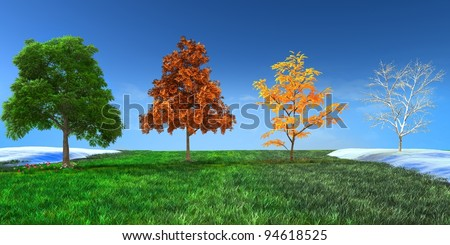 3d concept  Four seasons trees in Spring, Summer, Autumn and Winter - stock photo