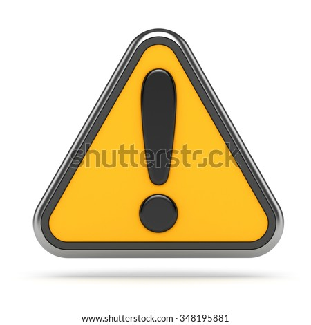 3d concept. Hazard warning attention sign with exclamation mark symbol on white. - stock photo