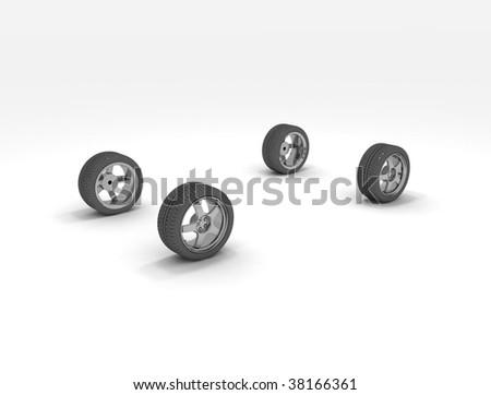 3d concept illustrations - four wheels - stock photo