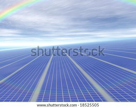 3d concept infinite solar panels against blue sky and rainbow - stock photo