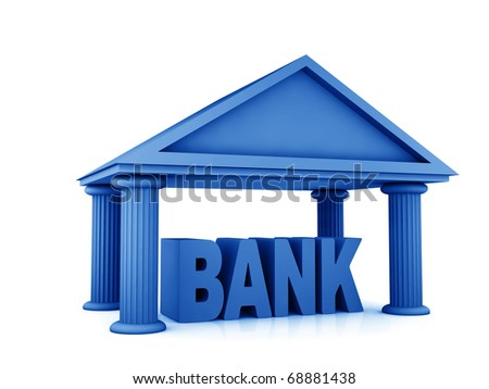 3d concept of bank isolated on white - stock photo