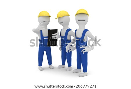 3D concept of construction workers wearing yellow protective helmet discussing project