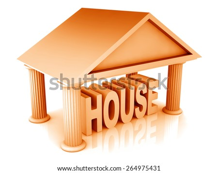 3d concept of house isolated on white - stock photo