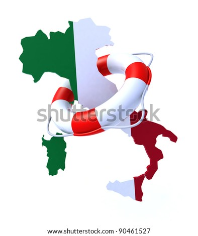 3d concept problem of the crisis in Italy - stock photo
