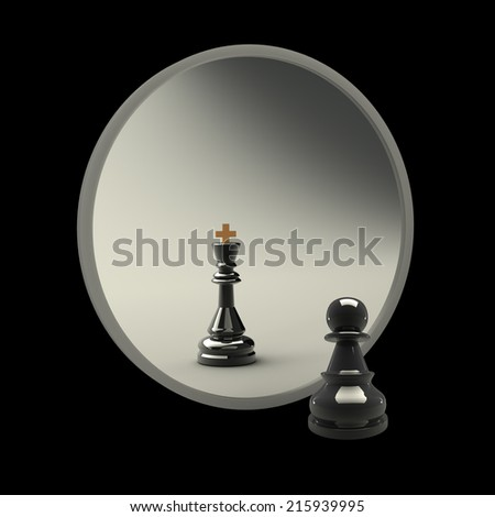 3d concept, reflected in the mirror of a pawn. black background - stock photo