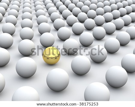 3D concept rendering depicting individualism and uniqueness, one standing out of the grey crowd as golden sphere - stock photo