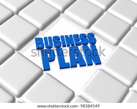 3d concept text with reflection with boxes - business plan, blue words - stock photo