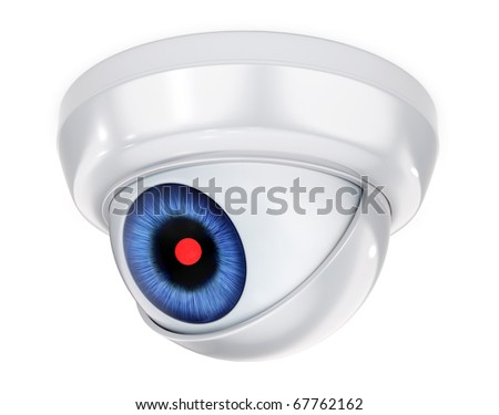 3D concept with abstract security camera with the eye - stock photo