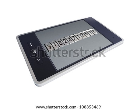 3D concept with mobile phone and code mechanism - stock photo