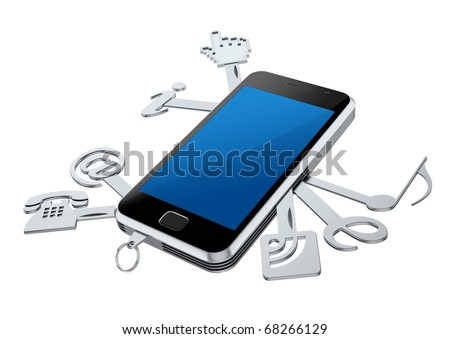 3D concept  with smartphone with internet service symbols - stock photo