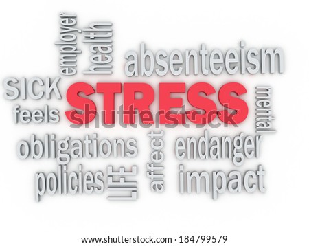 3d concept wordcloud illustration of stress  - stock photo
