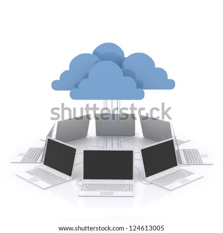 3d Concepts cloud computing devices. - stock photo