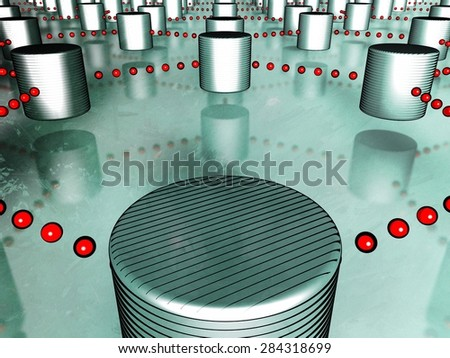 3D conceptual illustration of a relational database, represented with numerous cylinders interlinked with lines of red dots, referring to concepts such as technology concepts, and networking systems  - stock photo