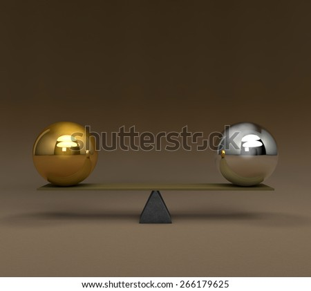 3D conceptual image series in the balance - stock photo