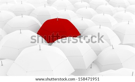 3d conceptually showing leader through unique color of umbrella, the best - stock photo