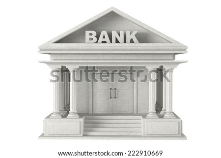 3d concrete Bank Building on a white background