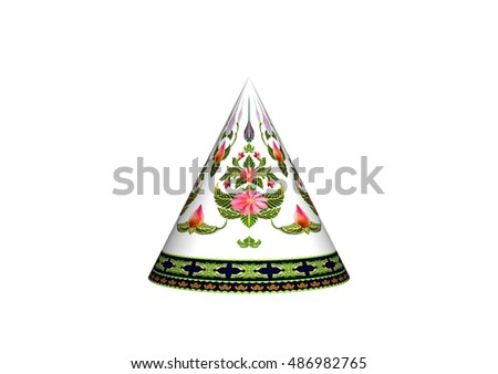 3D cone and pattern of flowers and leaves isolated on white background.