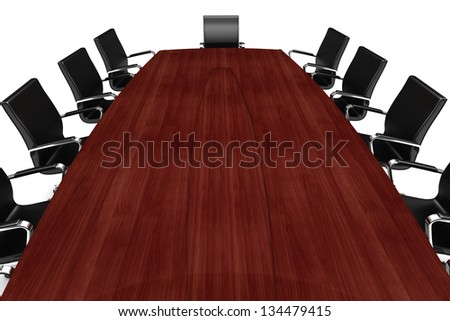 3d conference table and leather seats on white - stock photo