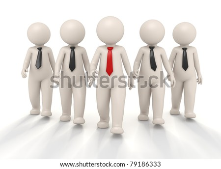 3d confident team and their boss walking towards the camera - Isolated - stock photo