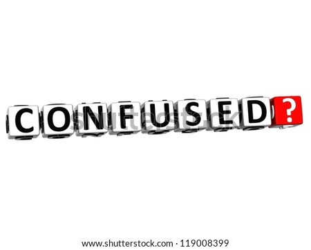 3D Confused Button Click Here Block Text over white background - stock photo