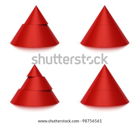 3d conical shape sliced, red pyramid 2 (two) or 3 (three) levels, white background and reflection - stock photo