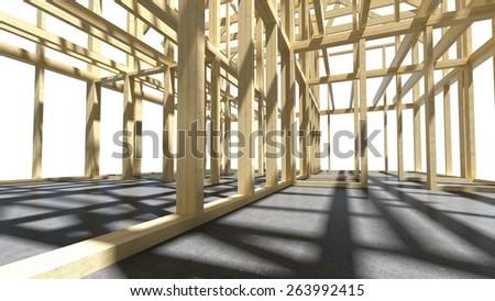 3D. Construction, Construction Site, House. - stock photo