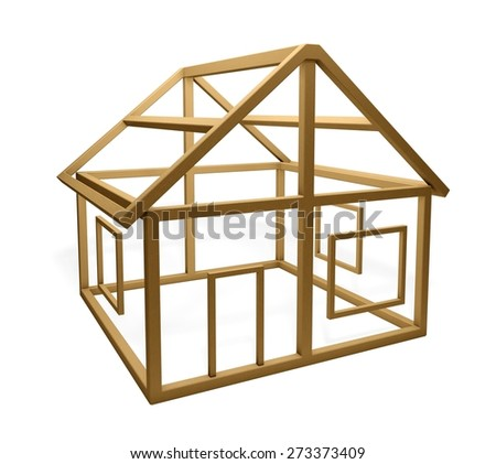 3D. Construction Frame, House, Construction. - stock photo