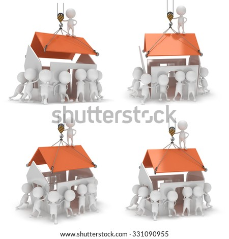 3D construction guys building a house. Set of 4 illustrations. 3D render isolated on white background. - stock photo