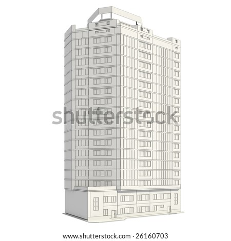 3D construction of office building - stock photo